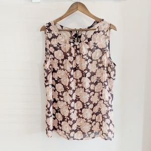 LOFT Silky Sheer Floral Tank Top Blouse XL